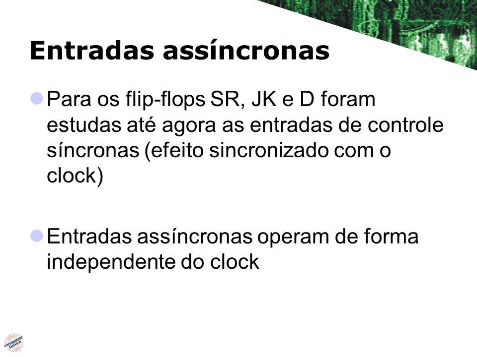 Entradas assíncronas Para os flip-flops SR, JK e D foram estudas até agora as entradas de controle síncronas (efeito sincronizado com o clock)