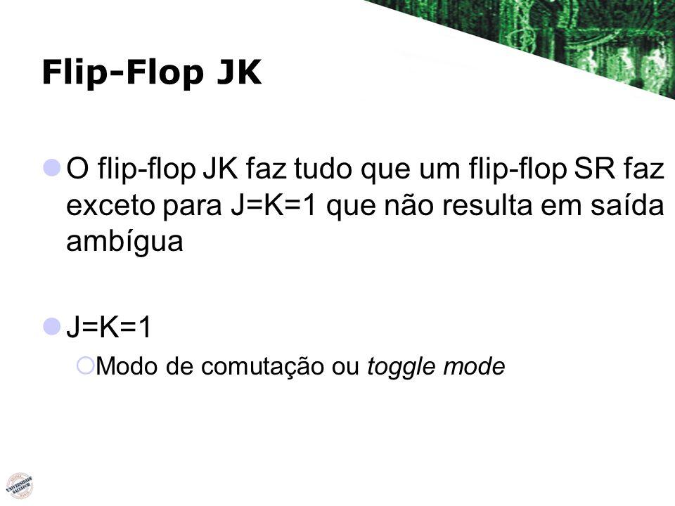 Flip-Flop JK O flip-flop JK faz tudo que um flip-flop SR faz exceto para J=K=1 que não resulta em saída ambígua.
