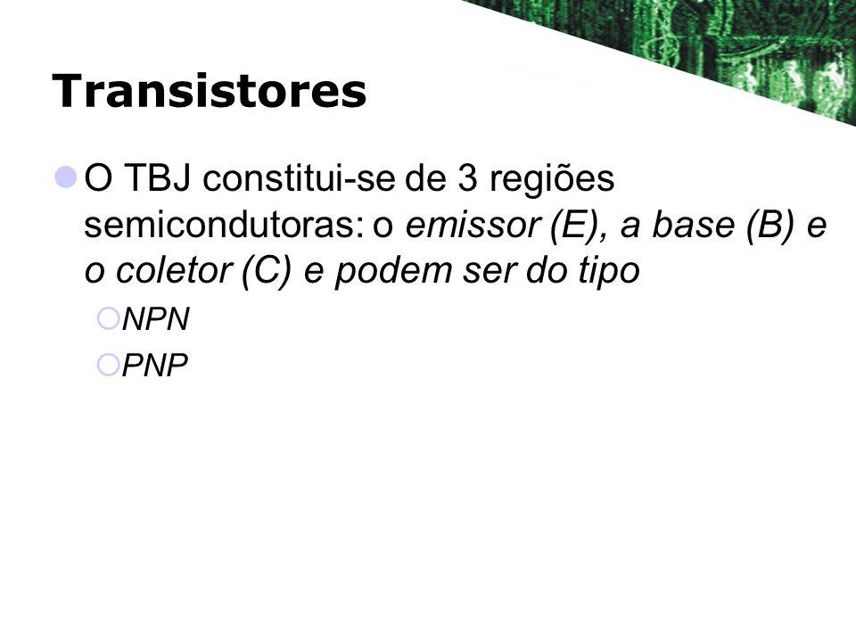 Transistores O TBJ constitui-se de 3 regiões semicondutoras: o emissor (E), a base (B) e o coletor (C) e podem ser do tipo.