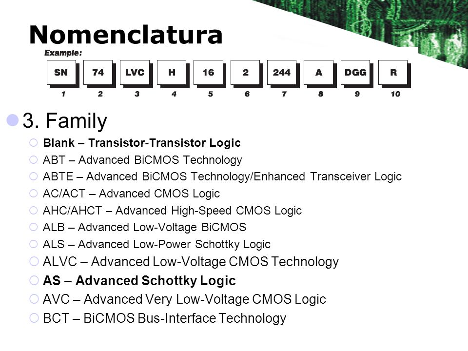 Nomenclatura 3. Family ALVC – Advanced Low-Voltage CMOS Technology