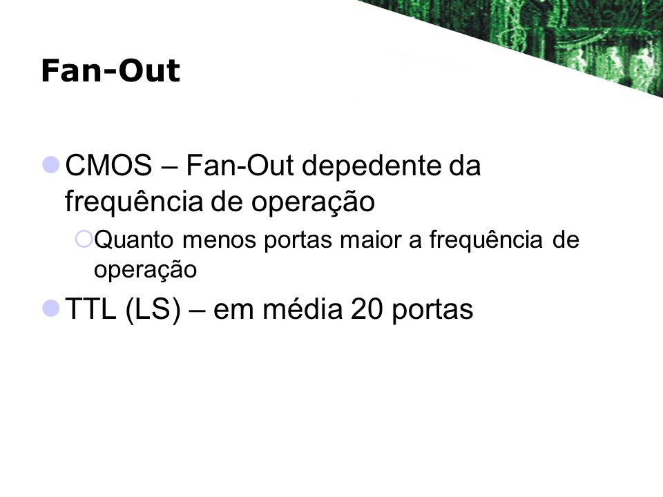 Fan-Out CMOS – Fan-Out depedente da frequência de operação