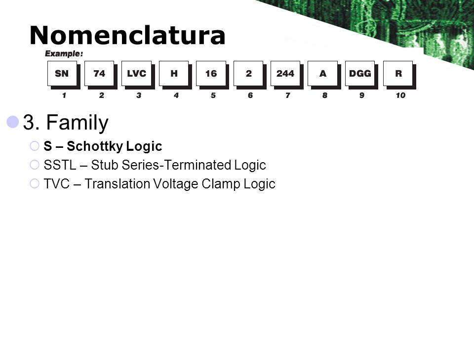 Nomenclatura 3. Family S – Schottky Logic