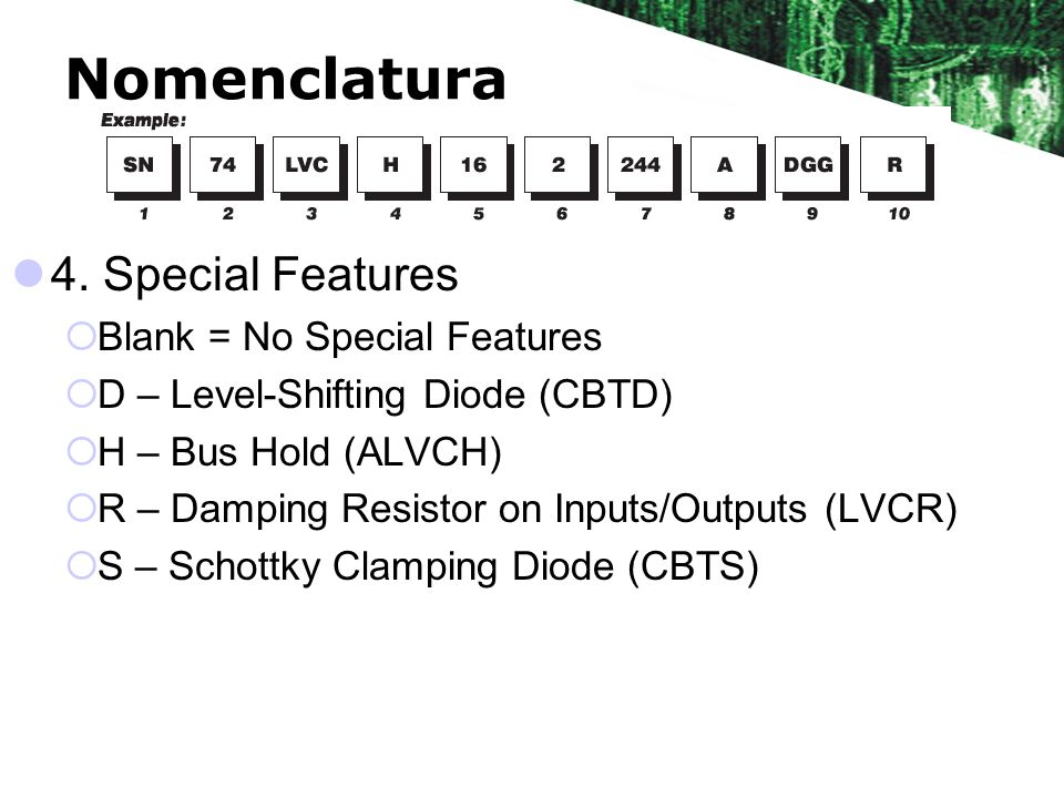 Nomenclatura 4. Special Features Blank = No Special Features
