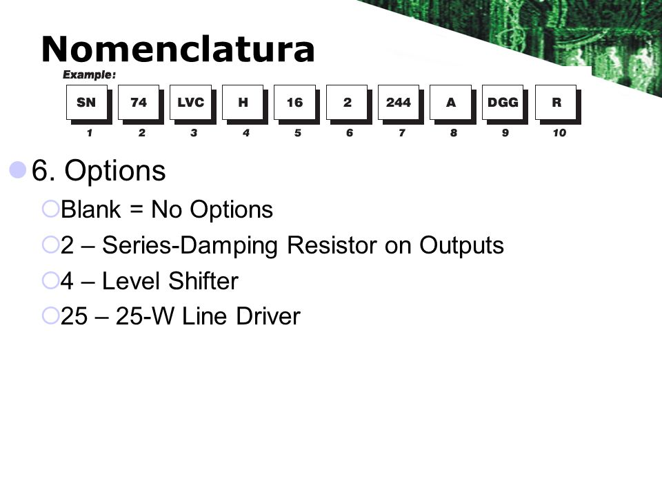 Nomenclatura 6. Options Blank = No Options