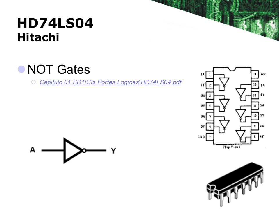 HD74LS04 Hitachi NOT Gates Capitulo 01 SD1\CIs Portas Logicas\HD74LS04.pdf