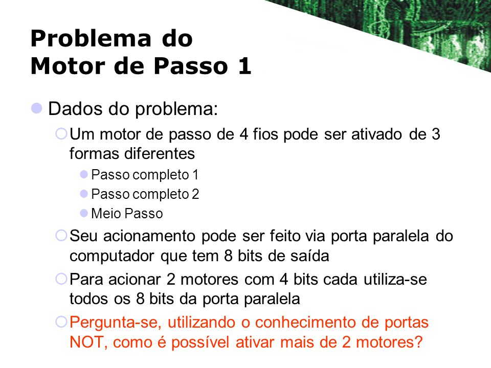 Problema do Motor de Passo 1