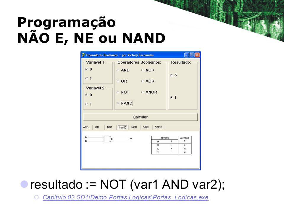 Programação NÃO E, NE ou NAND