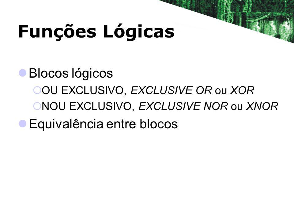 Funções Lógicas Blocos lógicos Equivalência entre blocos