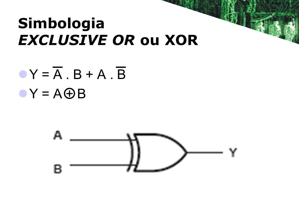 Simbologia EXCLUSIVE OR ou XOR