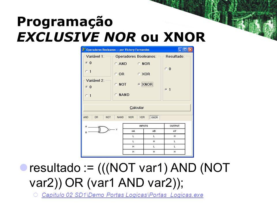 Programação EXCLUSIVE NOR ou XNOR