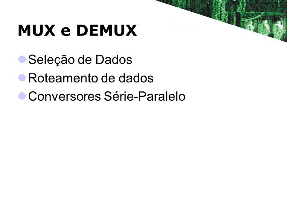 MUX e DEMUX Seleção de Dados Roteamento de dados