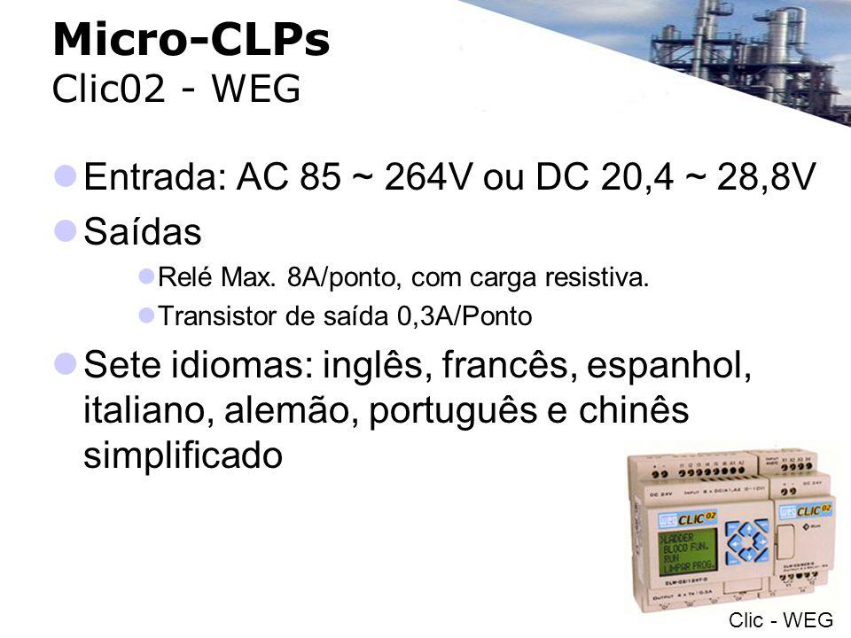 Micro-CLPs Clic02 - WEG Entrada: AC 85 ~ 264V ou DC 20,4 ~ 28,8V