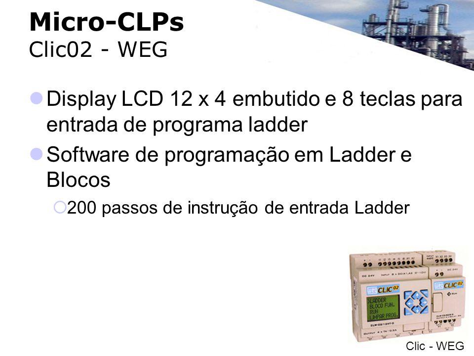 Micro-CLPs Clic02 - WEGDisplay LCD 12 x 4 embutido e 8 teclas para entrada de programa ladder. Software de programação em Ladder e Blocos.