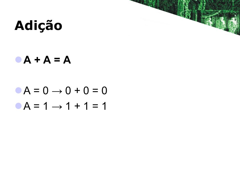 Adição A + A = A A = 0 → 0 + 0 = 0 A = 1 → 1 + 1 = 1