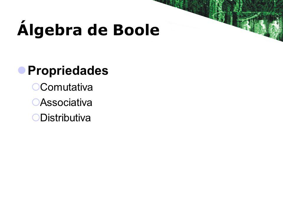 Álgebra de Boole Propriedades Comutativa Associativa Distributiva