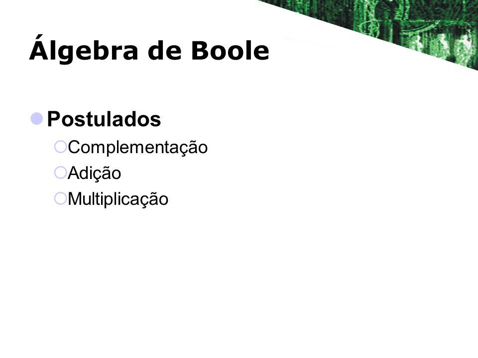 Álgebra de Boole Postulados Complementação Adição Multiplicação
