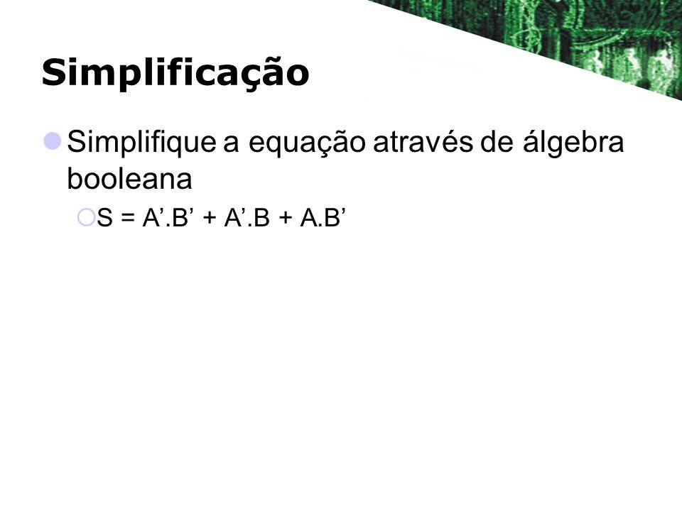 Simplificação Simplifique a equação através de álgebra booleana