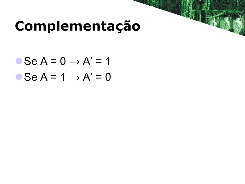 Complementação Se A = 0 → A' = 1 Se A = 1 → A' = 0
