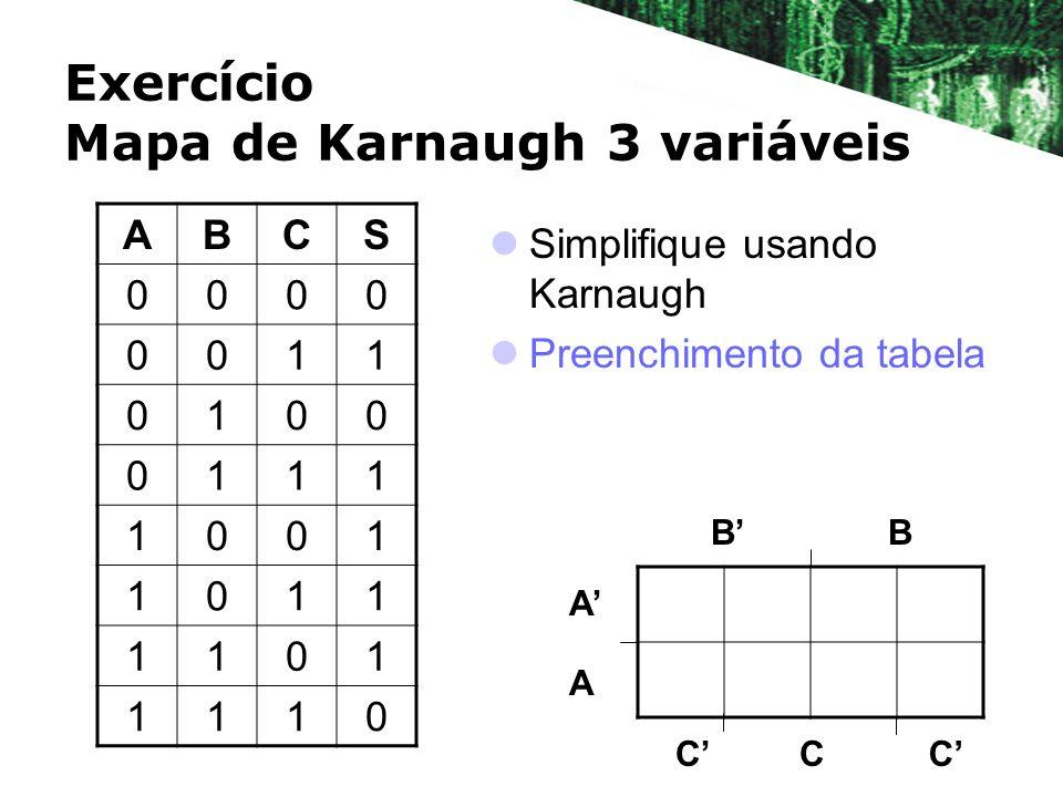 Exercício Mapa de Karnaugh 3 variáveis