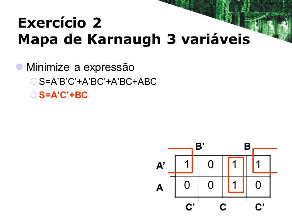 Exercício 2 Mapa de Karnaugh 3 variáveis