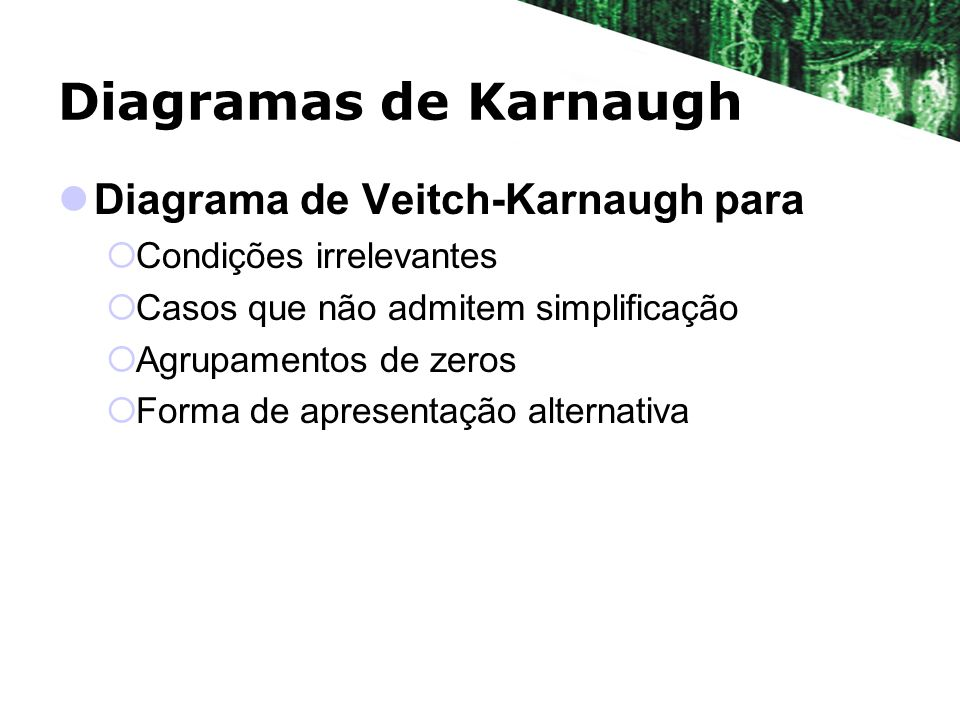 Diagramas de Karnaugh Diagrama de Veitch-Karnaugh para