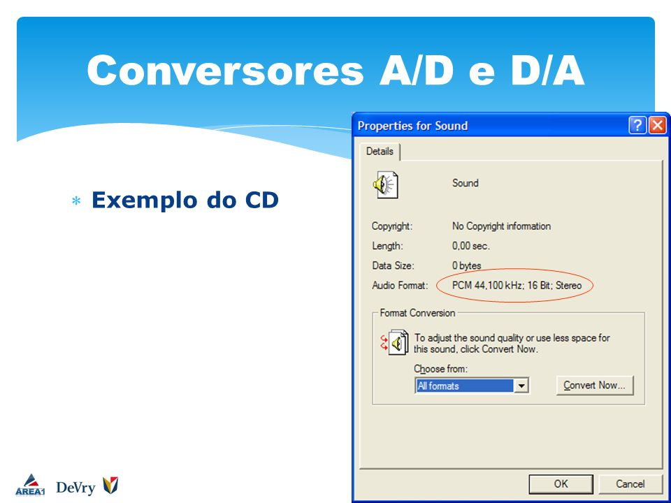 Conversores A/D e D/A Exemplo do CD