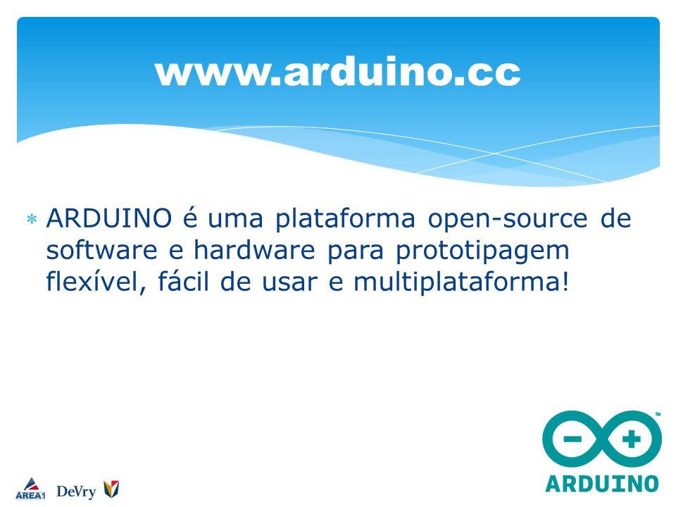 www.arduino.ccARDUINO é uma plataforma open-source de software e hardware para prototipagem flexível, fácil de usar e multiplataforma!