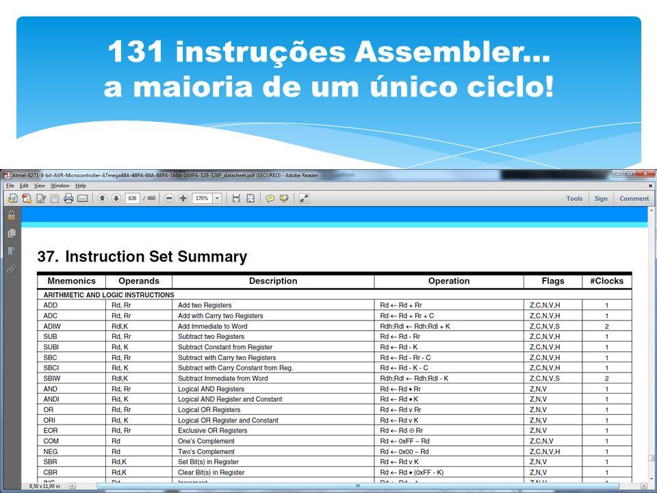 131 instruções Assembler... a maioria de um único ciclo!