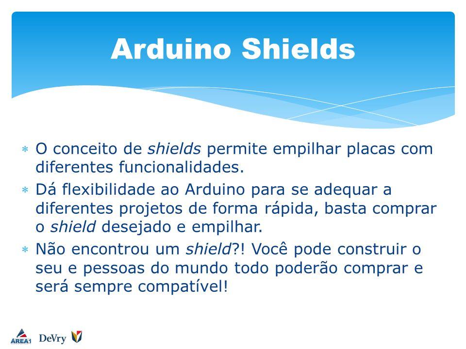 Arduino ShieldsO conceito de shields permite empilhar placas com diferentes funcionalidades.