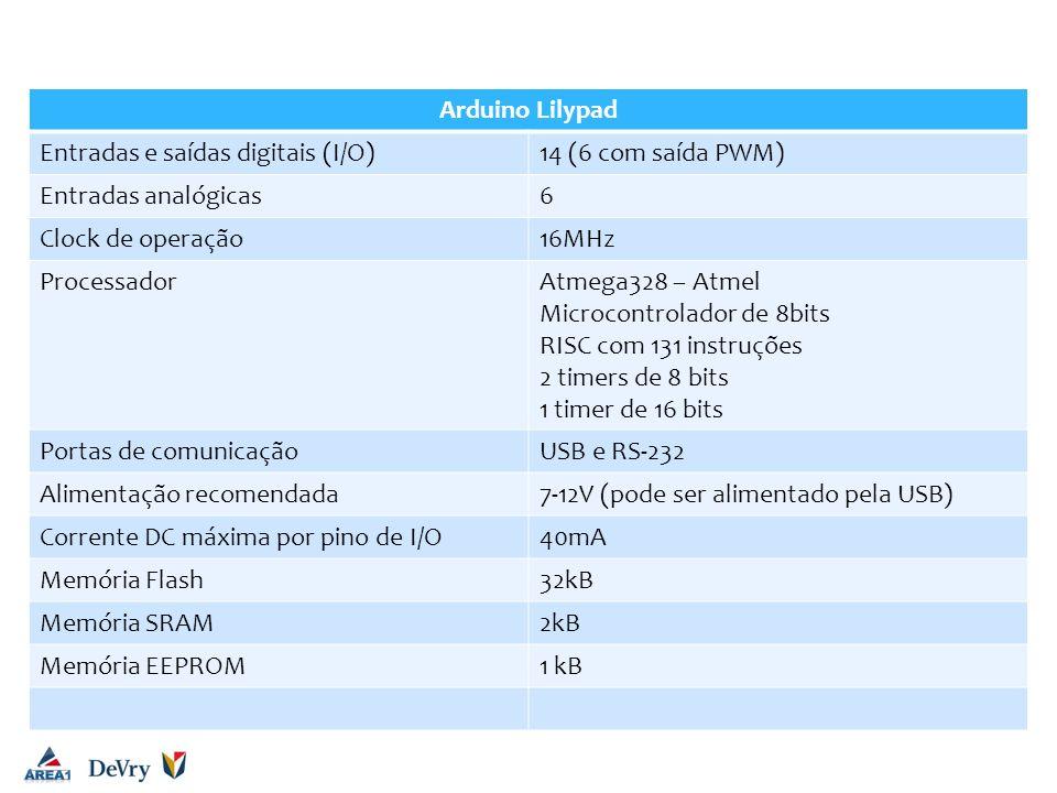 Arduino UNO Arduino Lilypad Entradas e saídas digitais (I/O)
