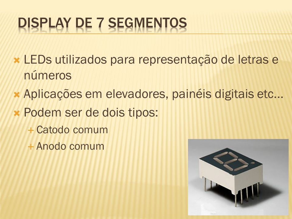 Display de 7 segmentos LEDs utilizados para representação de letras e números. Aplicações em elevadores, painéis digitais etc...