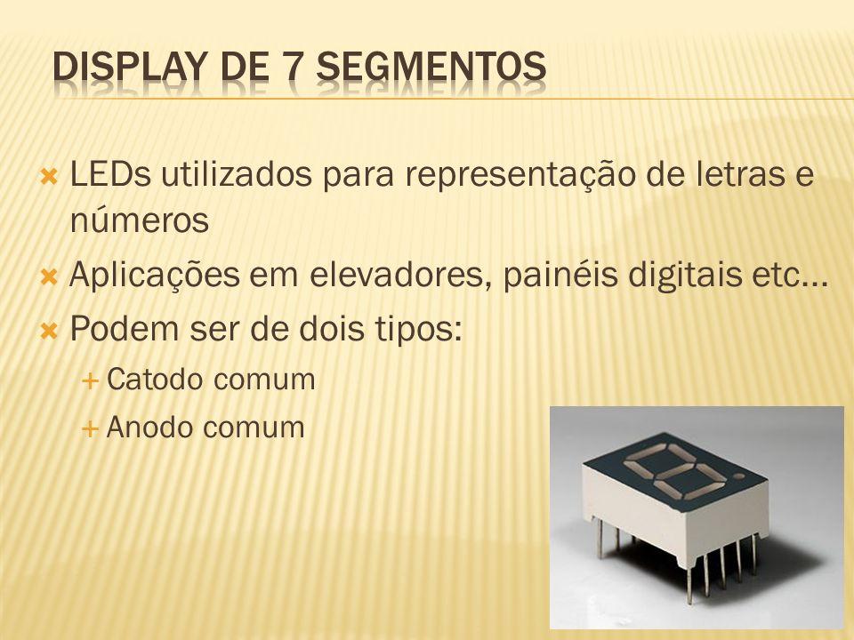 Display de 7 segmentosLEDs utilizados para representação de letras e números. Aplicações em elevadores, painéis digitais etc...