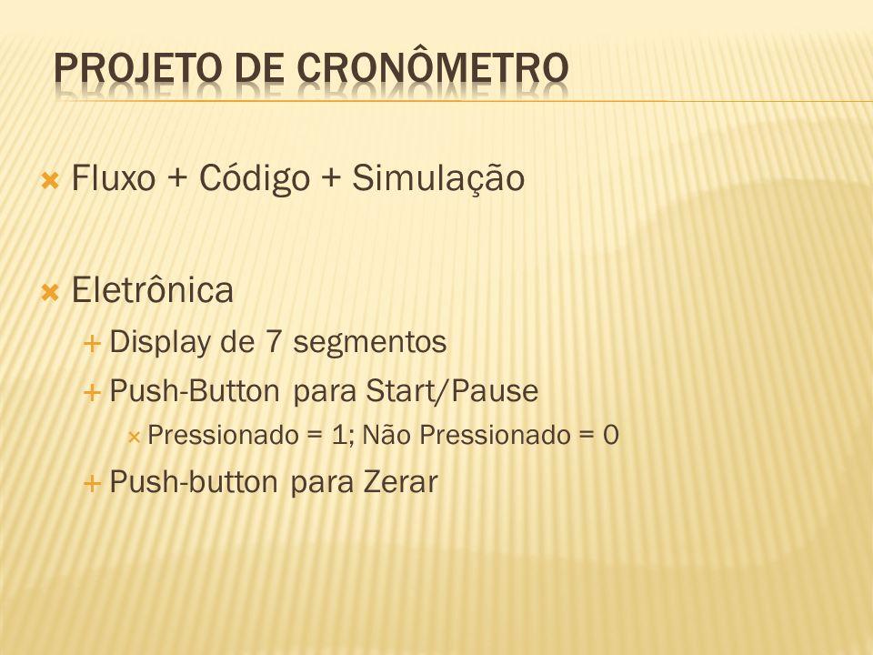 Projeto de Cronômetro Fluxo + Código + Simulação Eletrônica