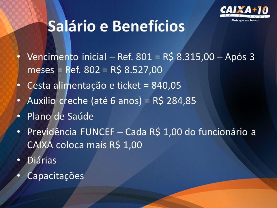 Salário e Benefícios Vencimento inicial – Ref. 801 = R$ 8.315,00 – Após 3 meses = Ref. 802 = R$ 8.527,00.