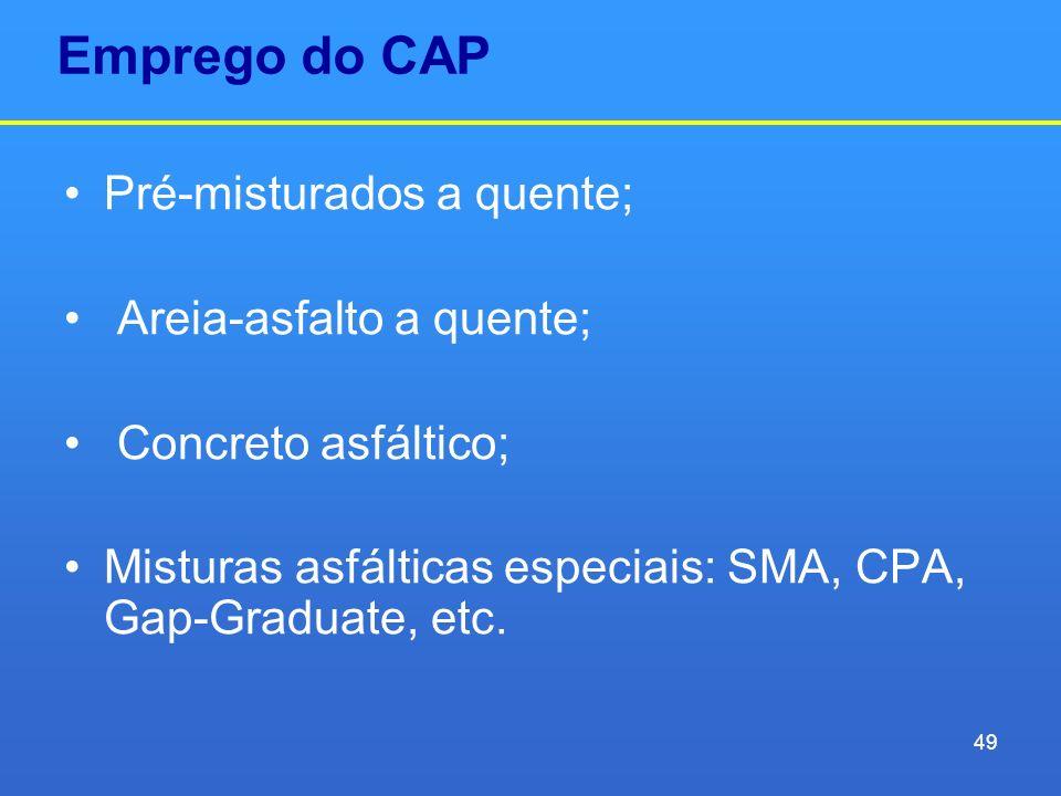 Emprego do CAP Pré-misturados a quente; Areia-asfalto a quente;