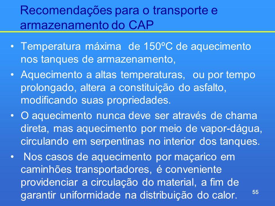 Recomendações para o transporte e armazenamento do CAP