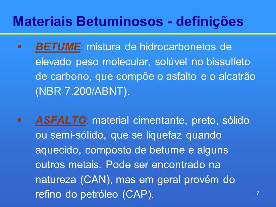 Materiais Betuminosos - definições