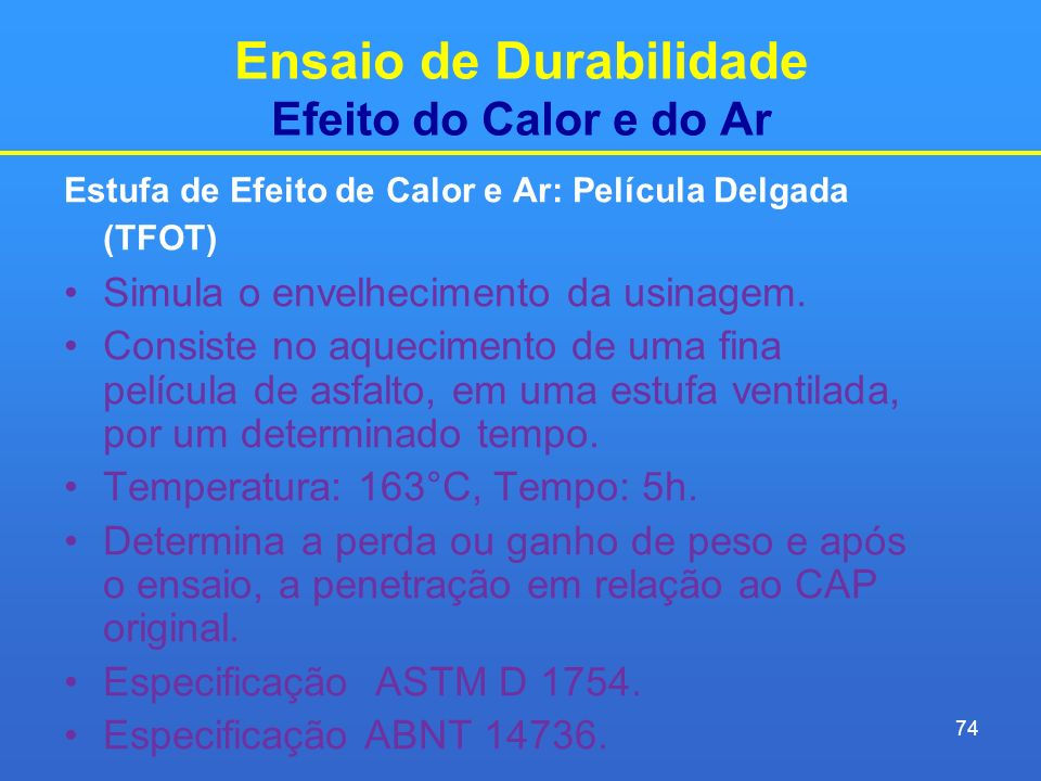 Ensaio de Durabilidade Efeito do Calor e do Ar
