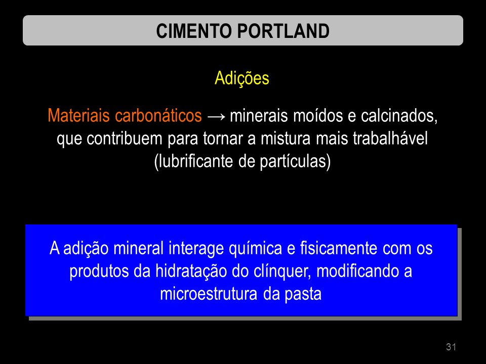 CIMENTO PORTLAND Adições