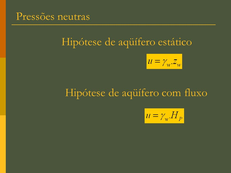 Pressões neutras Hipótese de aqüífero estático Hipótese de aqüífero com fluxo