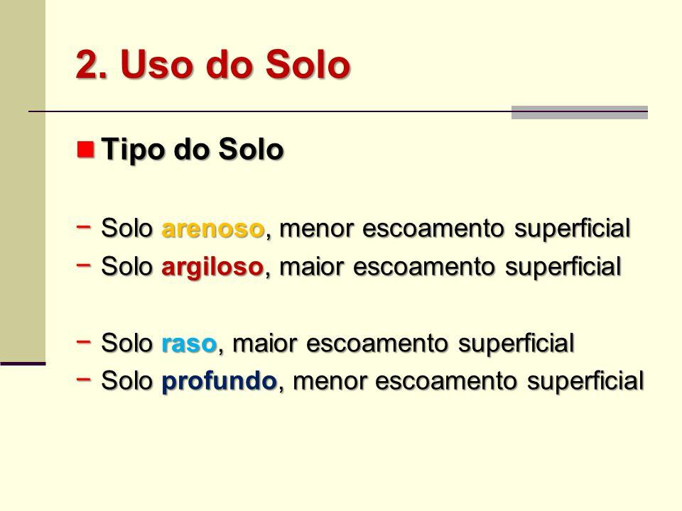 2. Uso do Solo Tipo do Solo Solo arenoso, menor escoamento superficial