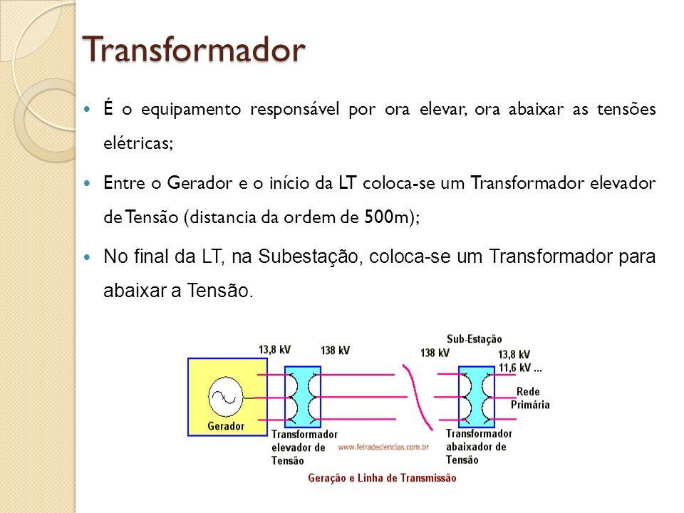 Transformador É o equipamento responsável por ora elevar, ora abaixar as tensões elétricas;