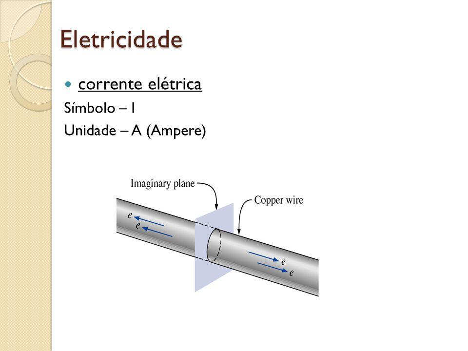 Eletricidade corrente elétrica Símbolo – I Unidade – A (Ampere)