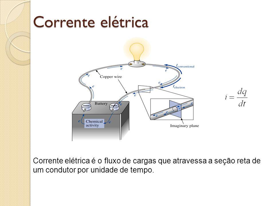 Corrente elétrica Corrente elétrica é o fluxo de cargas que atravessa a seção reta de um condutor por unidade de tempo.