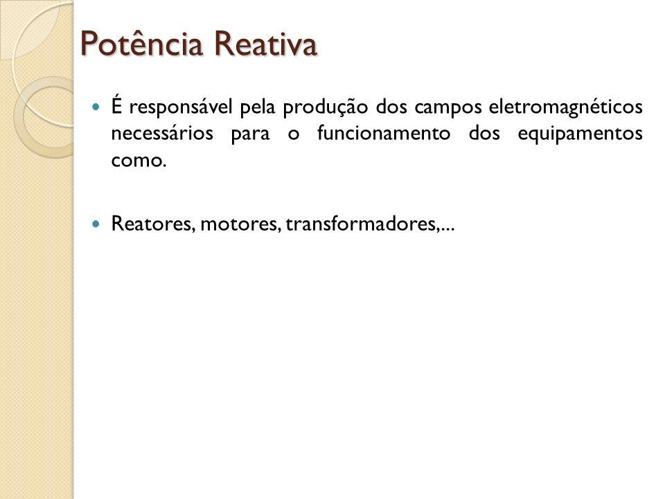 Potência ReativaÉ responsável pela produção dos campos eletromagnéticos necessários para o funcionamento dos equipamentos como.
