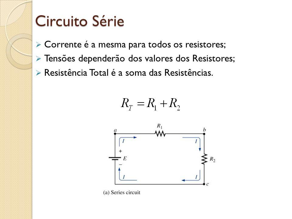 Circuito Série Corrente é a mesma para todos os resistores;