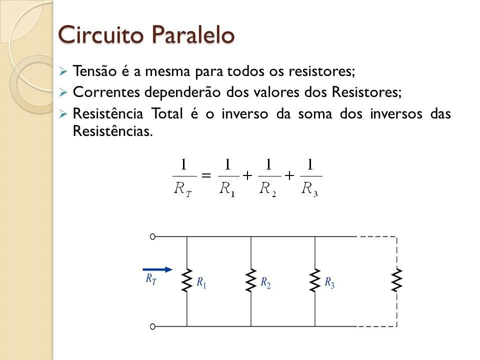 Circuito Paralelo Tensão é a mesma para todos os resistores;
