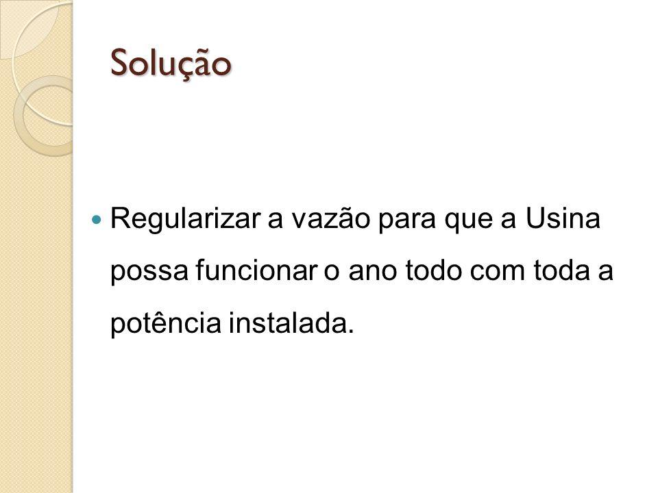 Solução Regularizar a vazão para que a Usina possa funcionar o ano todo com toda a potência instalada.
