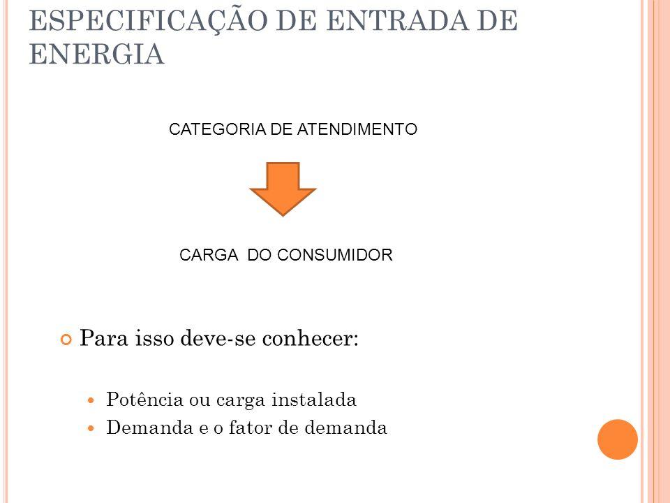 ESPECIFICAÇÃO DE ENTRADA DE ENERGIA