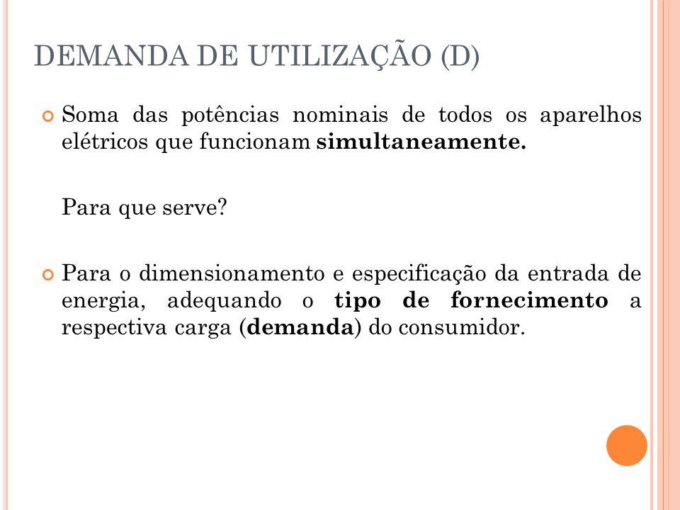 DEMANDA DE UTILIZAÇÃO (D)